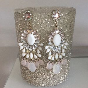 Bling earrings, pink, white and gold